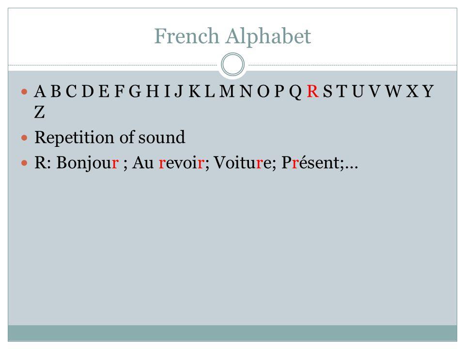 French Alphabet A B C D E F G H I J K L M N O P Q R S T U V W X Y Z Repetition of sound R: Bonjour ; Au revoir; Voiture; Présent;…