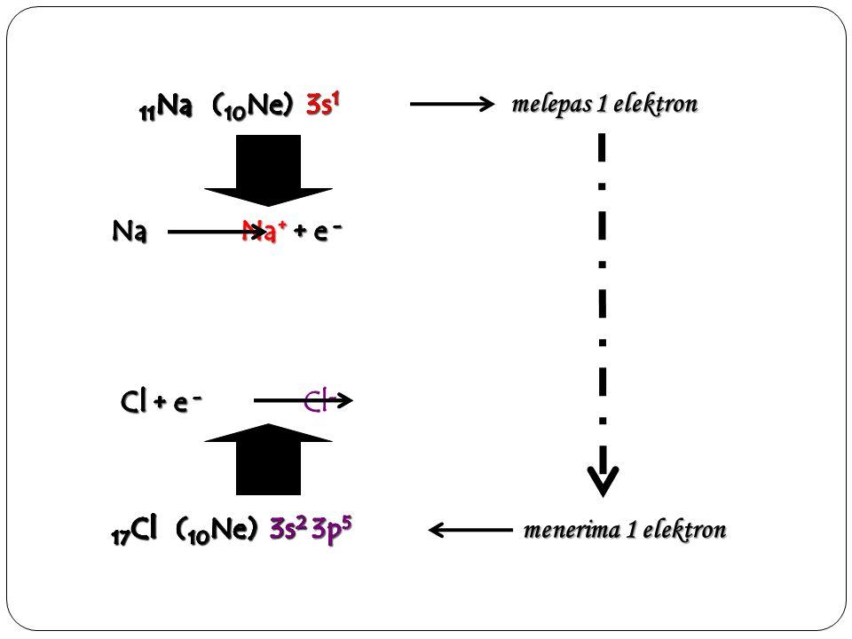 melepas 1 elektron menerima 1 elektron