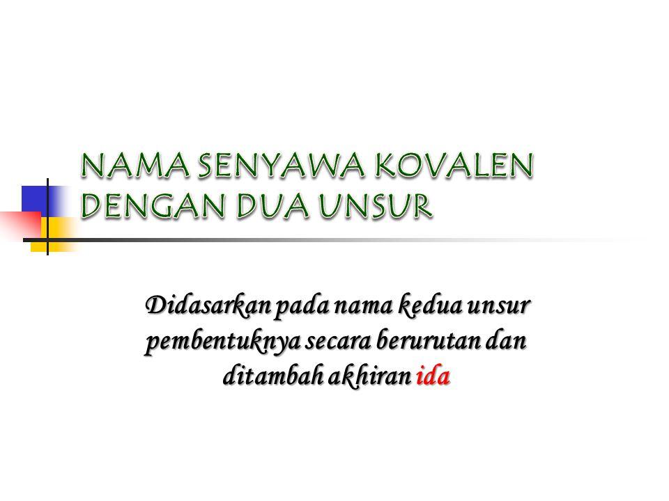 Didasarkan pada nama kedua unsur pembentuknya secara berurutan dan ditambah akhiran ida