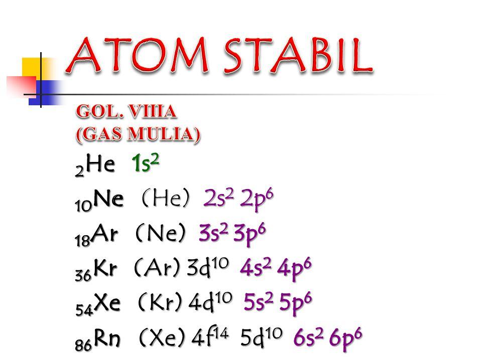o Dilakukan dua atom untuk mencapai konfigurasi elektron seperti gas mulia (struktur duplet atau duplet)