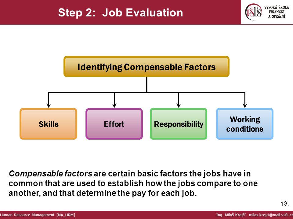 13. Step 2: Job Evaluation Human Resource Management [NA_HRM] Ing. Miloš Krejčí milos.krejci@mail.vsfs.cz Skills Effort Responsibility Identifying Com