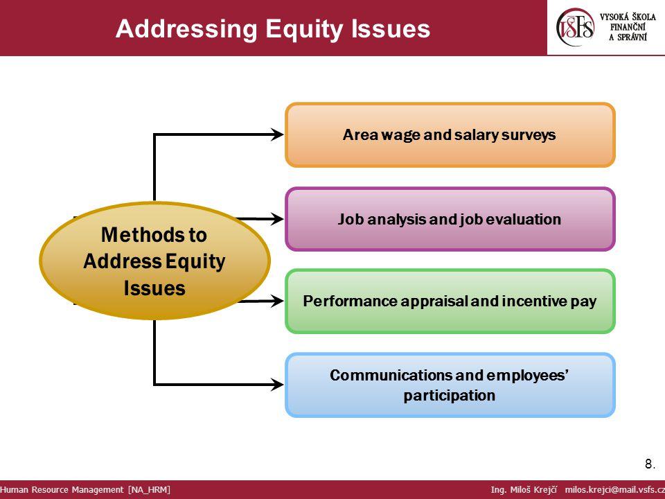8.8. Addressing Equity Issues Human Resource Management [NA_HRM] Ing. Miloš Krejčí milos.krejci@mail.vsfs.cz Area wage and salary surveys Job analysis
