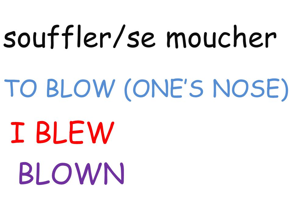 souffler/se moucher TO BLOW (ONE'S NOSE) I BLEW BLOWN