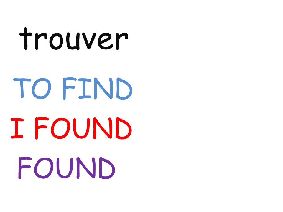 trouver TO FIND I FOUND FOUND