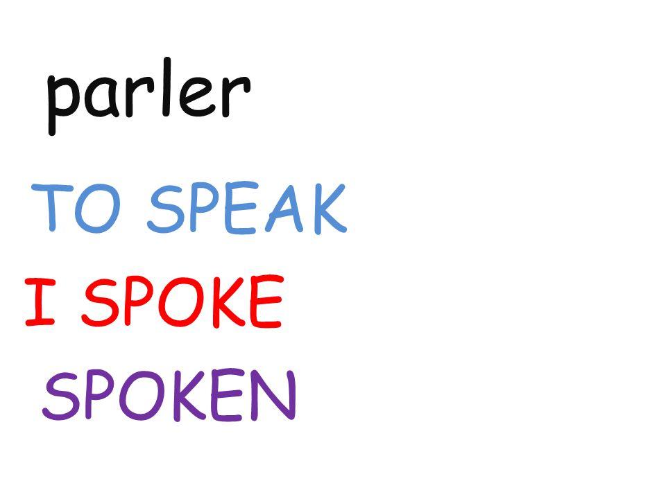 parler TO SPEAK I SPOKE SPOKEN