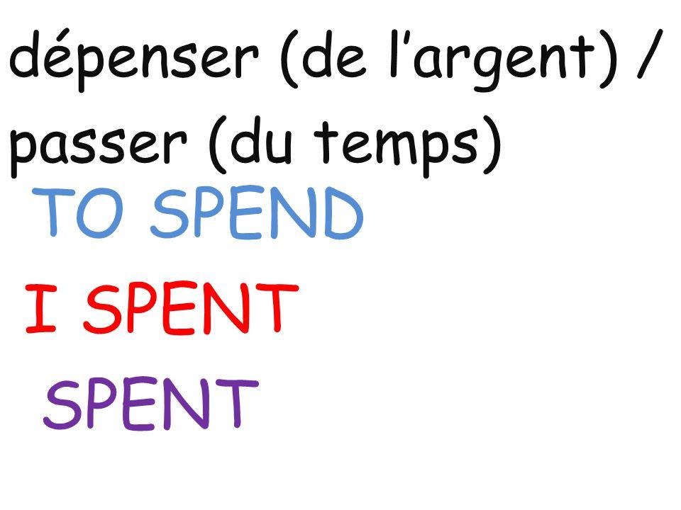dépenser (de l'argent) / passer (du temps) TO SPEND I SPENT SPENT