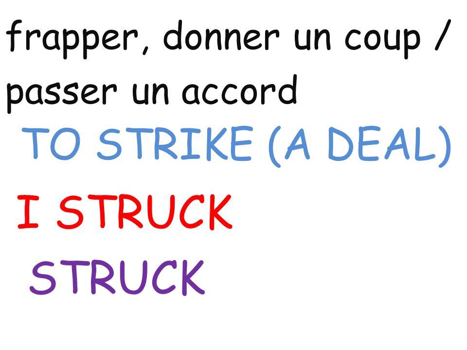 frapper, donner un coup / passer un accord TO STRIKE (A DEAL) I STRUCK STRUCK