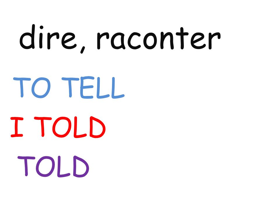 dire, raconter TO TELL I TOLD TOLD