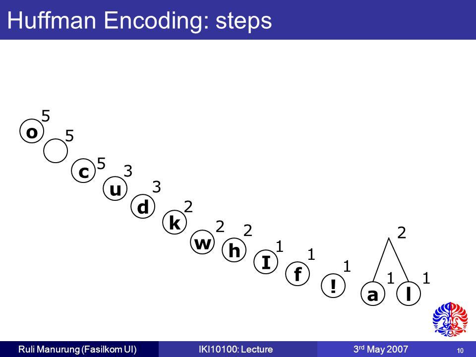 10 Ruli Manurung (Fasilkom UI)IKI10100: Lecture3 rd May 2007 Huffman Encoding: steps c 5 o 5 5 u 3 d 3 w 2 k 2 a 1 l 1 f 1 I 1 h 2 .