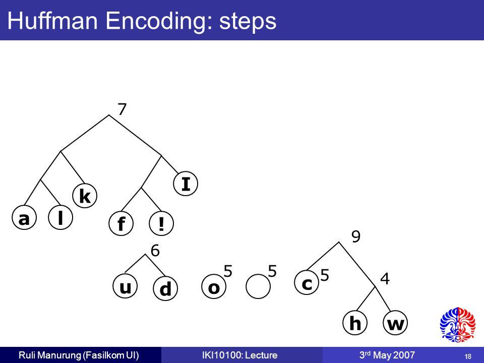 18 Ruli Manurung (Fasilkom UI)IKI10100: Lecture3 rd May 2007 Huffman Encoding: steps c 5 o 55 4 wh u d 6 f.