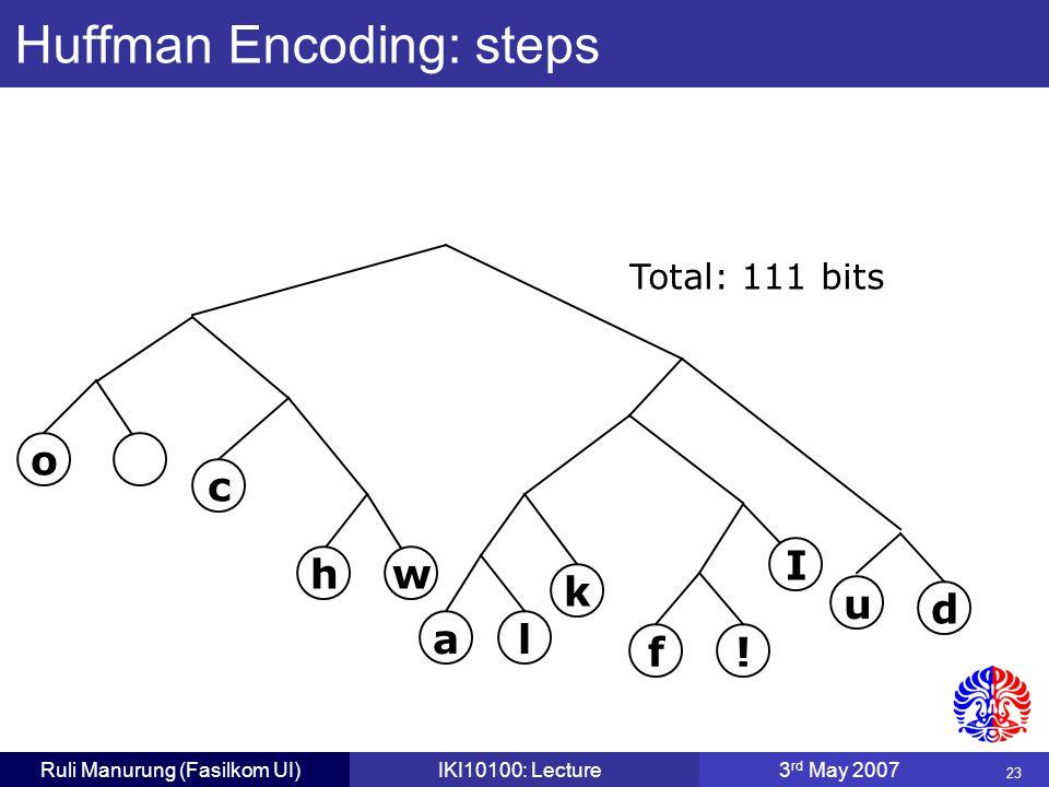 23 Ruli Manurung (Fasilkom UI)IKI10100: Lecture3 rd May 2007 Huffman Encoding: steps u d f.