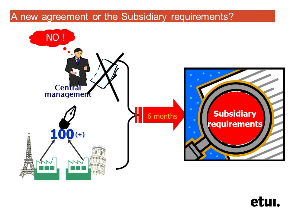 A new agreement or the Subsidiary requirements? 100 (+)  Central management NO ! Subsidiary requirements 6 months