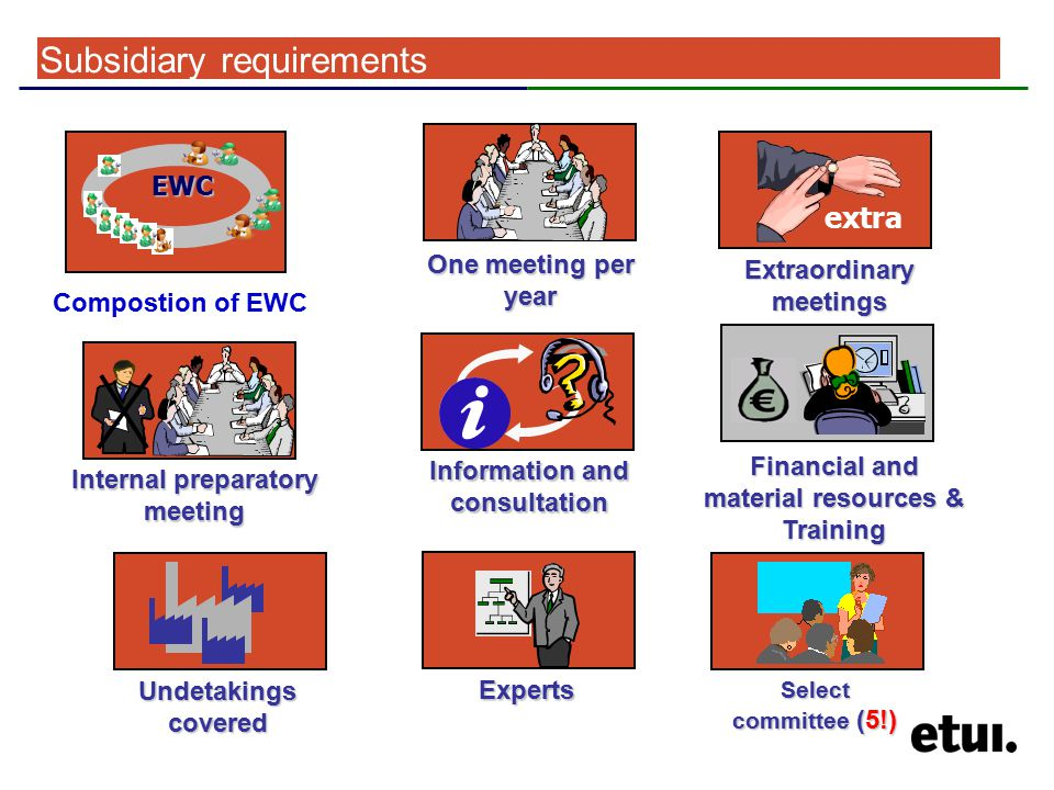 Subsidiary requirements Extraordinary meetings extra One meeting per year Information and consultation Experts Internal preparatory meeting Financial