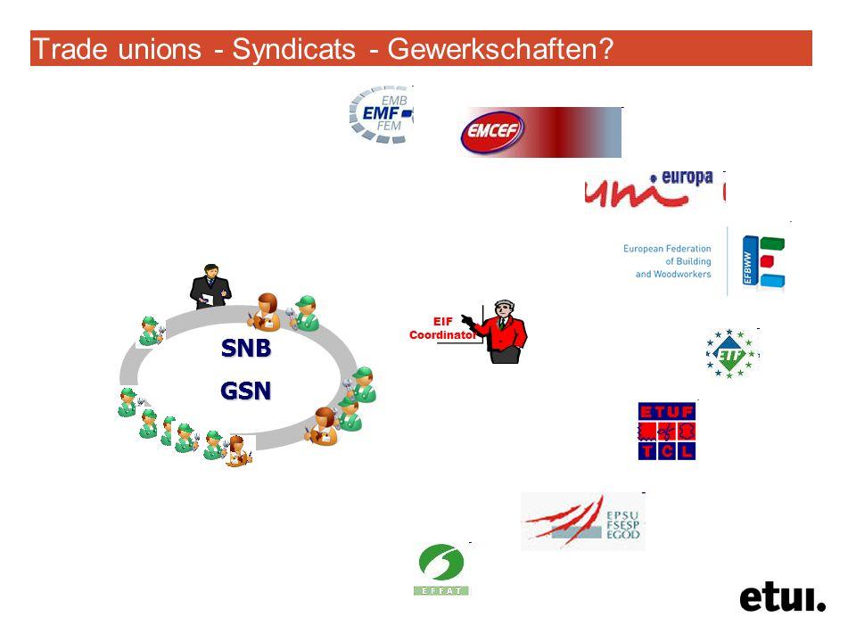 Trade unions - Syndicats - Gewerkschaften SNBGSN EIF Coordinator
