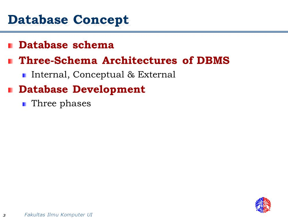 Fakultas Ilmu Komputer UI 3 Database Concept Database schema Three-Schema Architectures of DBMS Internal, Conceptual & External Database Development Three phases