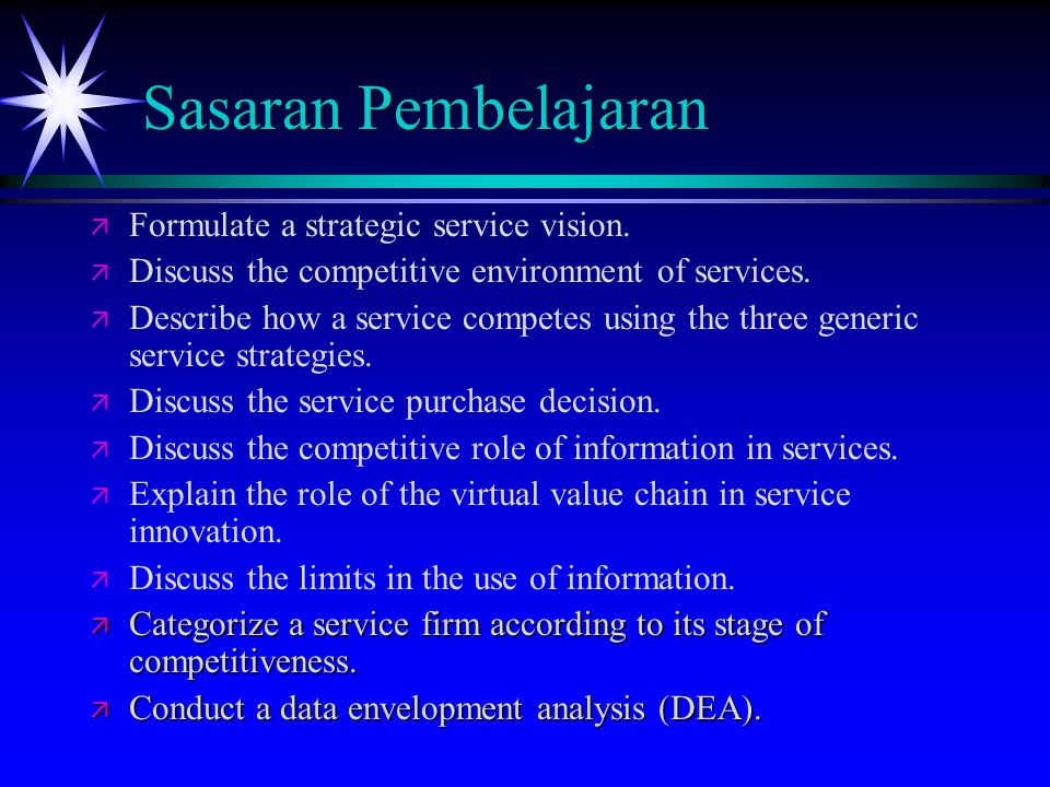 Service Purchase Decision (cont.) ä Service Loser: Failure to deliver at or above the expected level for a competitive dimension.