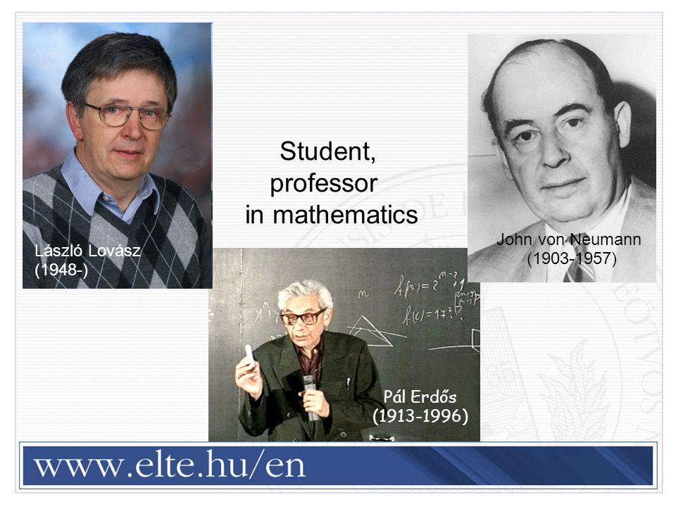 Pál Erdős (1913-1996)  Lipót Fejér (1880-1959 Student, professor in mathematics John von Neumann (1903-1957) László Lovász (1948-)