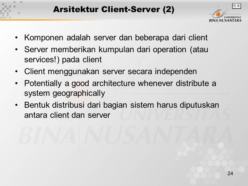 24 Arsitektur Client-Server (2) Komponen adalah server dan beberapa dari client Server memberikan kumpulan dari operation (atau services!) pada client Client menggunakan server secara independen Potentially a good architecture whenever distribute a system geographically Bentuk distribusi dari bagian sistem harus diputuskan antara client dan server