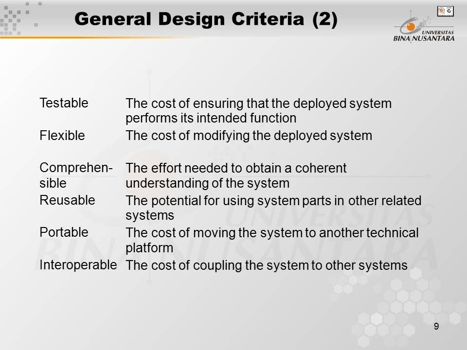 9 General Design Criteria (2) Testable The cost of ensuring that the deployed system performs its intended function Flexible The cost of modifying the deployed system Comprehen- sible The effort needed to obtain a coherent understanding of the system Reusable The potential for usingsystemparts in other related systems Portable The cost of moving the system to another technical platform Interoperable The cost of coupling the system to other systems