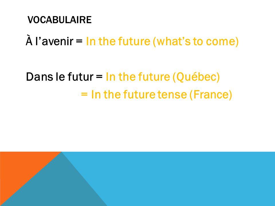 VOCABULAIRE À l'avenir = In the future (what's to come) Dans le futur = In the future (Québec) = In the future tense (France)
