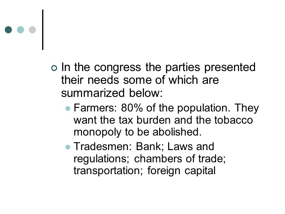 In the congress the parties presented their needs some of which are summarized below: Farmers: 80% of the population.
