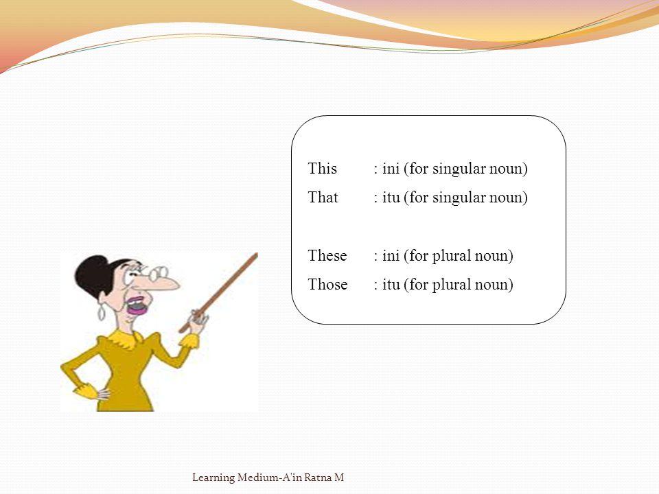 This: ini (for singular noun) That: itu (for singular noun) These: ini (for plural noun) Those: itu (for plural noun) Learning Medium-A in Ratna M