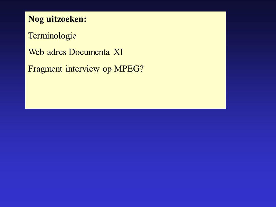 Nog uitzoeken: Terminologie Web adres Documenta XI Fragment interview op MPEG