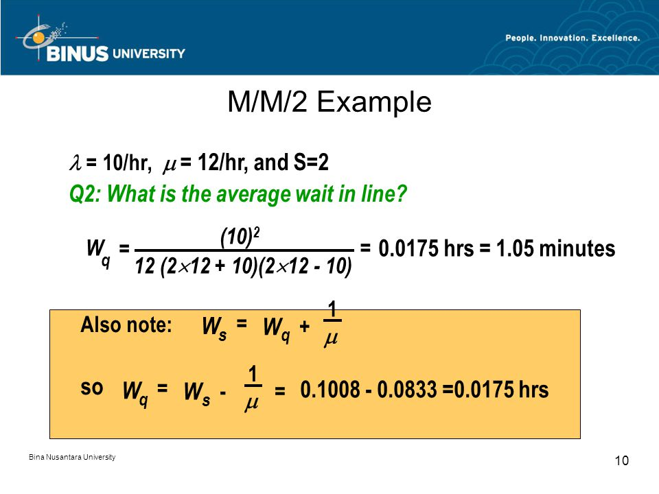 Bina Nusantara University 10 M/M/2 Example = 10/hr,  = 12/hr, and S=2 Q2: What is the average wait in line.