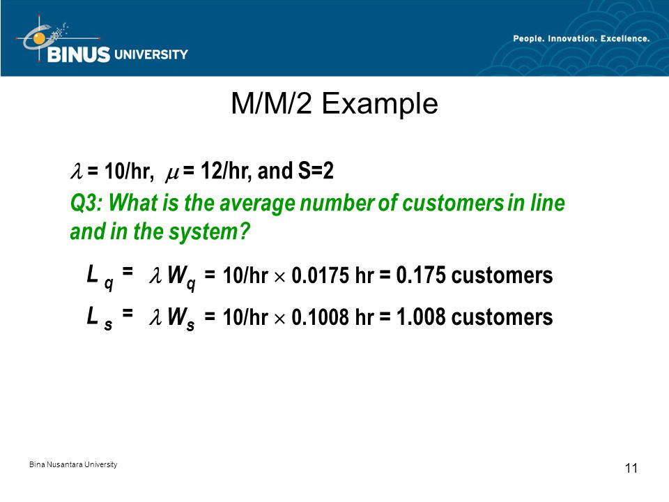 Bina Nusantara University 11 M/M/2 Example = 10/hr,  = 12/hr, and S=2 Q3: What is the average number of customers in line and in the system.