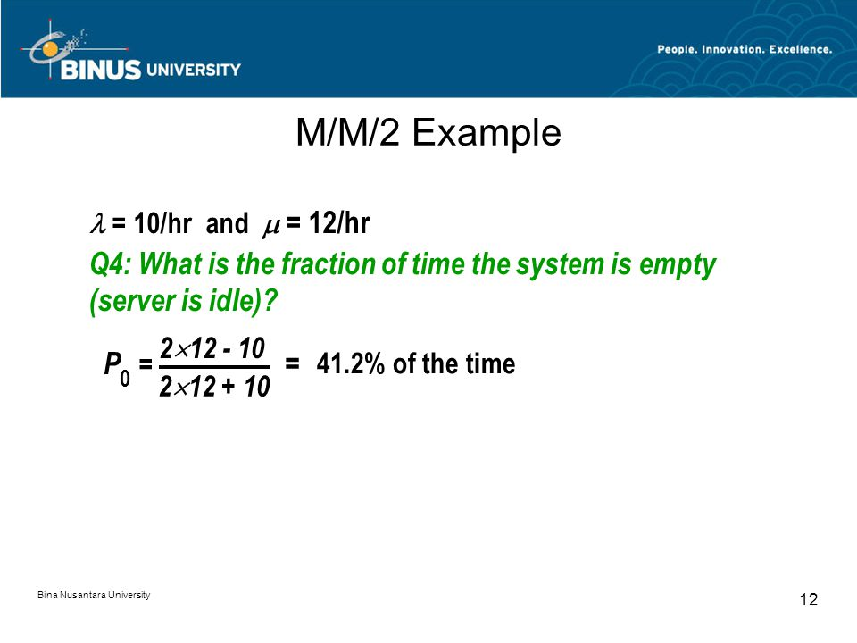 Bina Nusantara University 12 M/M/2 Example = 10/hr and  = 12/hr Q4: What is the fraction of time the system is empty (server is idle).