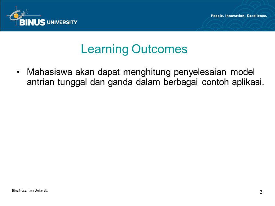 Bina Nusantara University 4 Outline Materi: Model Antrian Ganda M/M/C Jaringan Antrian Contoh Penerapan