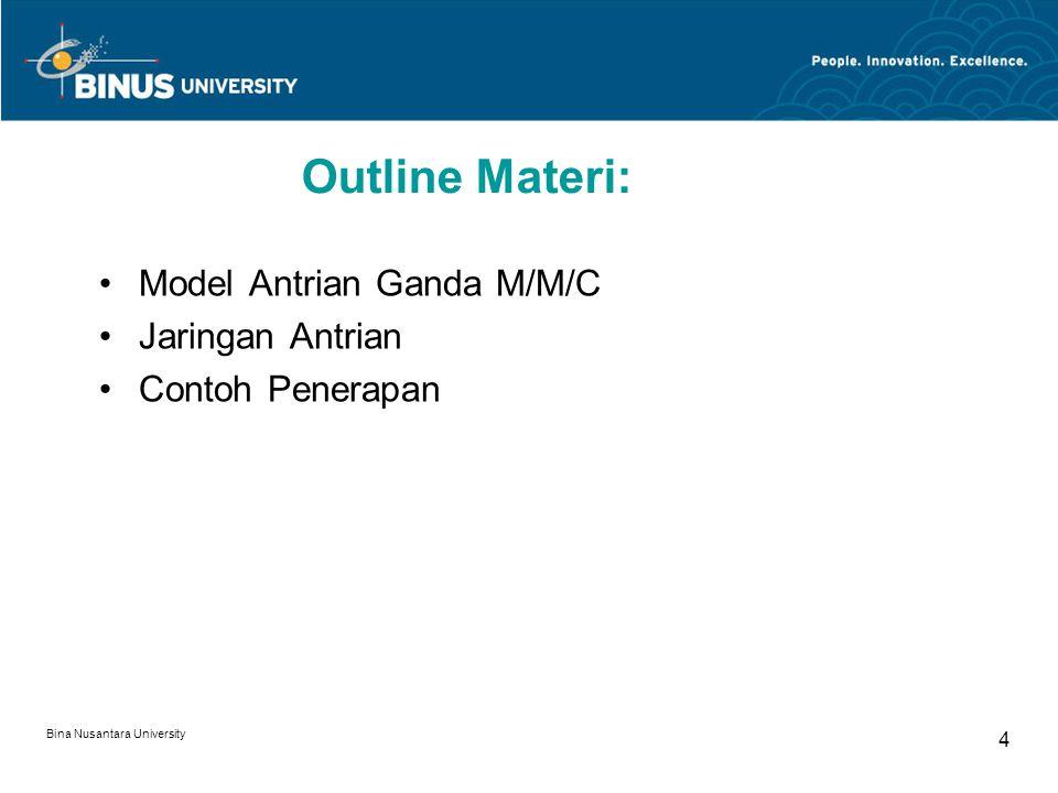 Bina Nusantara University 15 Customer Waiting Cost per Day = 10/hr and  = 12/hr Suppose customer waiting cost is $10/hr.
