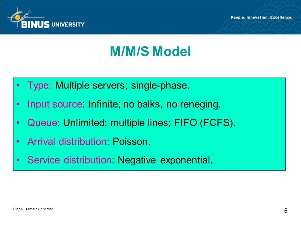 Bina Nusantara University 5 Type: Multiple servers; single-phase.