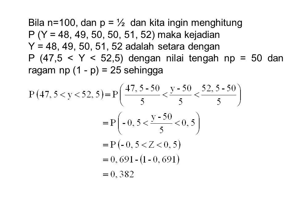 Bila n=100, dan p = ½ dan kita ingin menghitung P (Y = 48, 49, 50, 50, 51, 52) maka kejadian Y = 48, 49, 50, 51, 52 adalah setara dengan P (47,5 < Y <