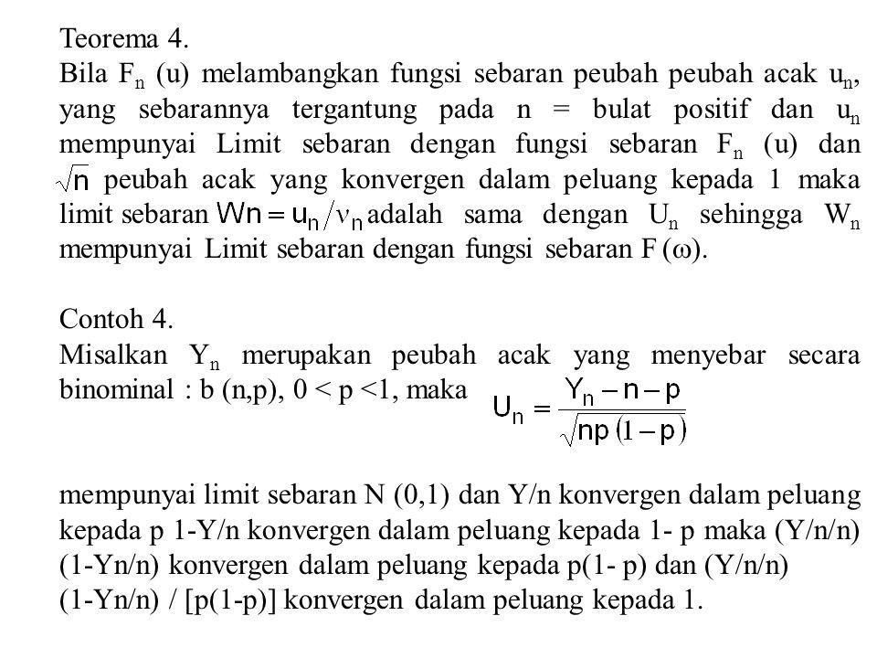 Teorema 4. Bila F n (u) melambangkan fungsi sebaran peubah peubah acak u n, yang sebarannya tergantung pada n = bulat positif dan u n mempunyai Limit