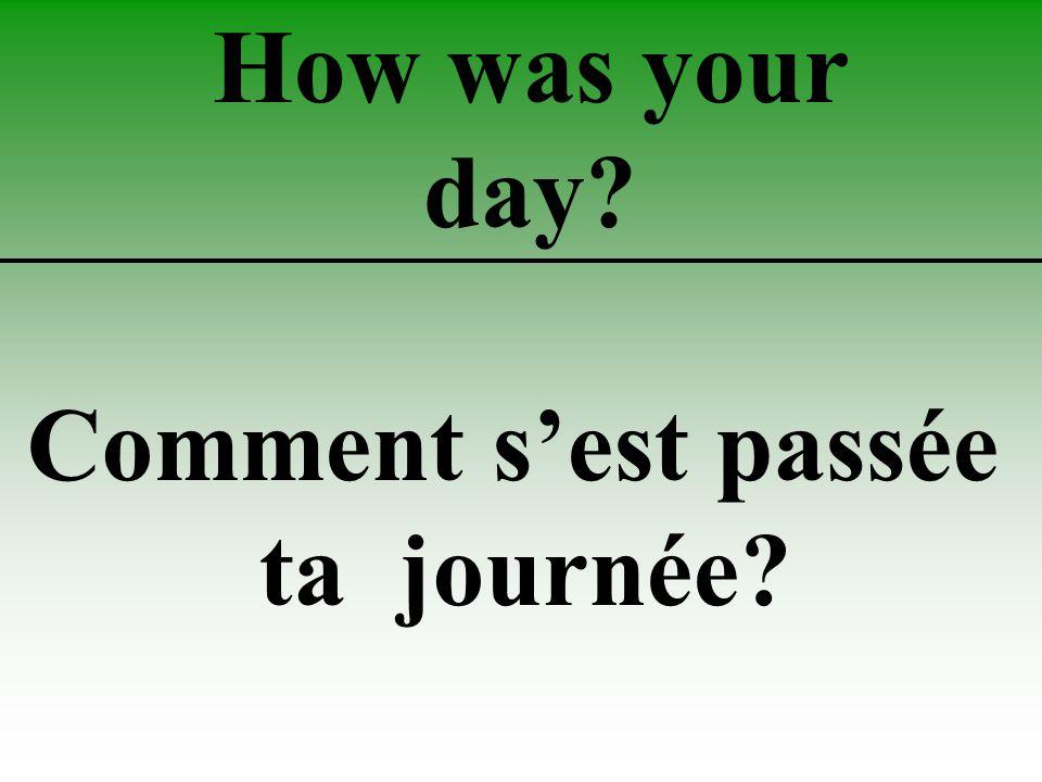How was your day Comment s'est passée ta journée