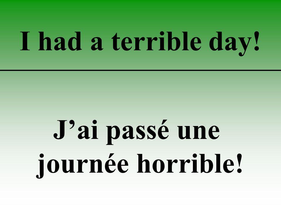 I had a terrible day! J'ai passé une journée horrible!