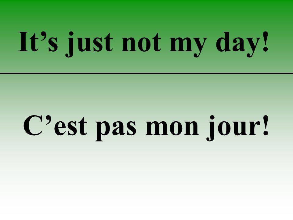 It's just not my day! C'est pas mon jour!