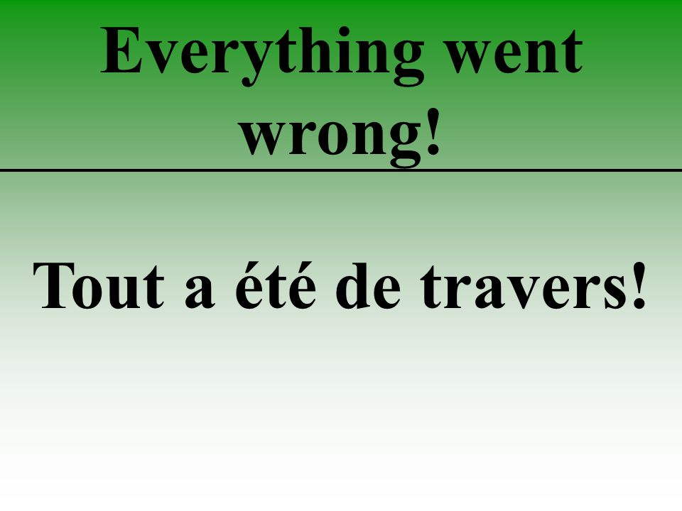 Everything went wrong! Tout a été de travers!