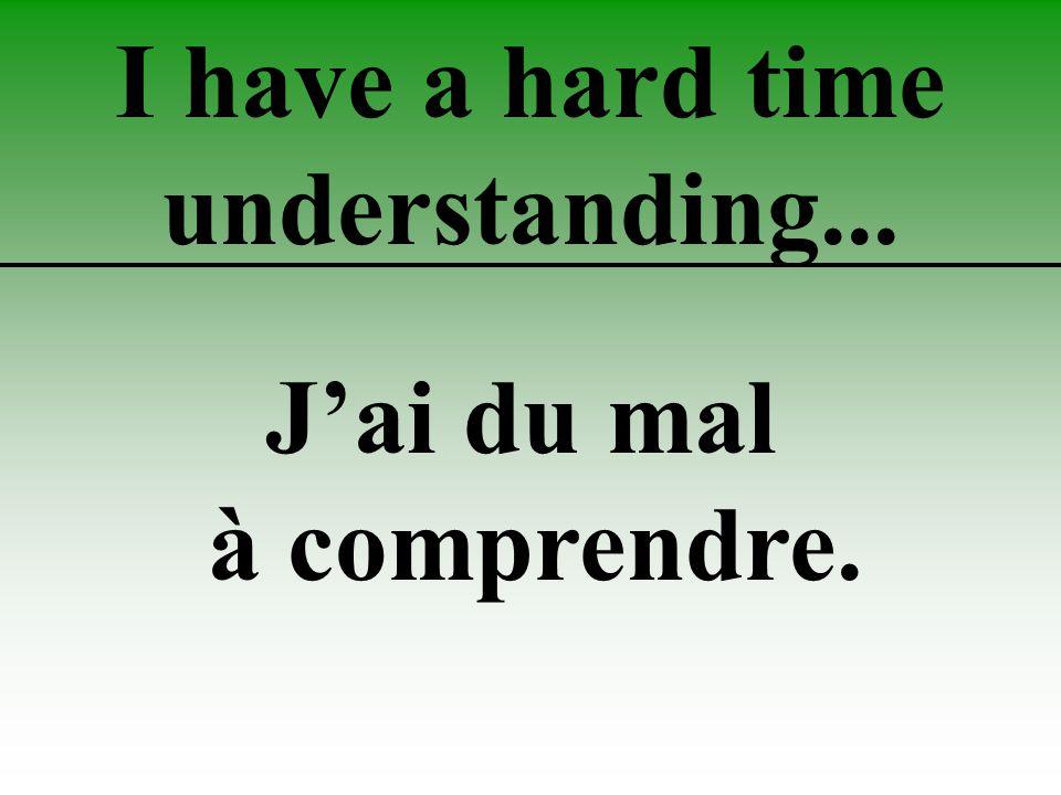 I have a hard time understanding... J'ai du mal à comprendre.