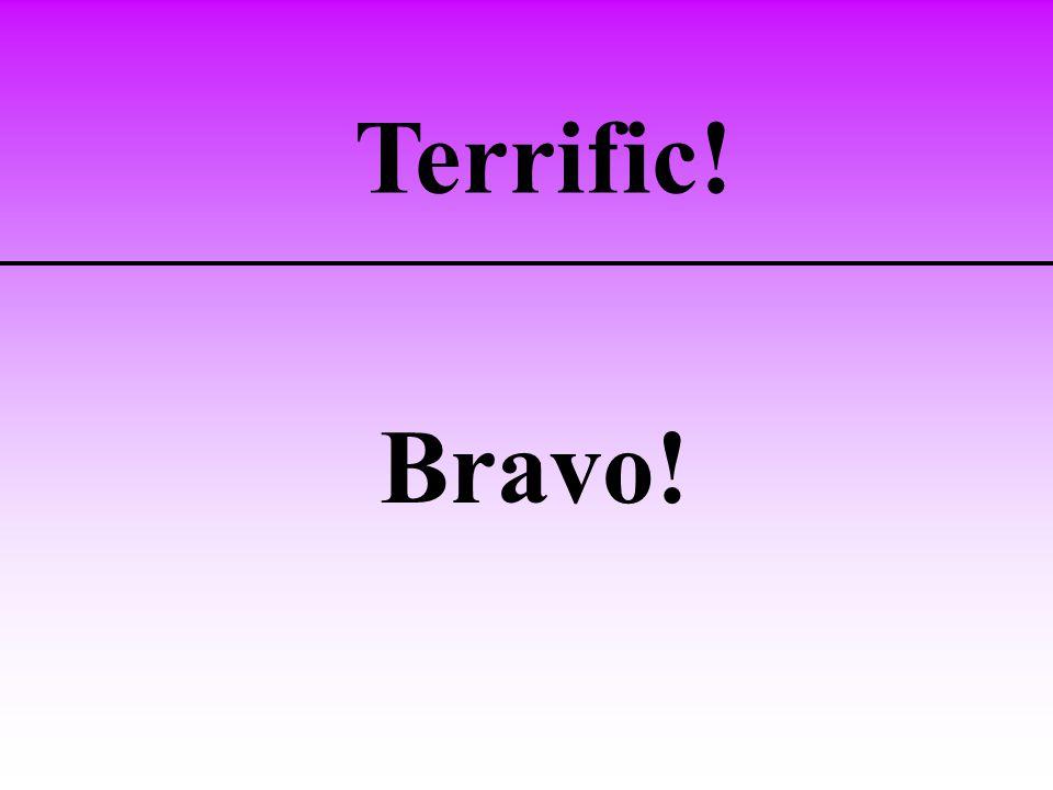 Terrific! Bravo!