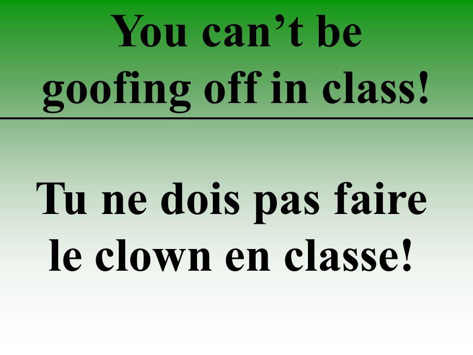 You can't be goofing off in class! Tu ne dois pas faire le clown en classe!