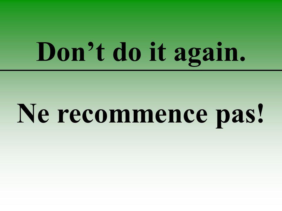 Don't do it again. Ne recommence pas!