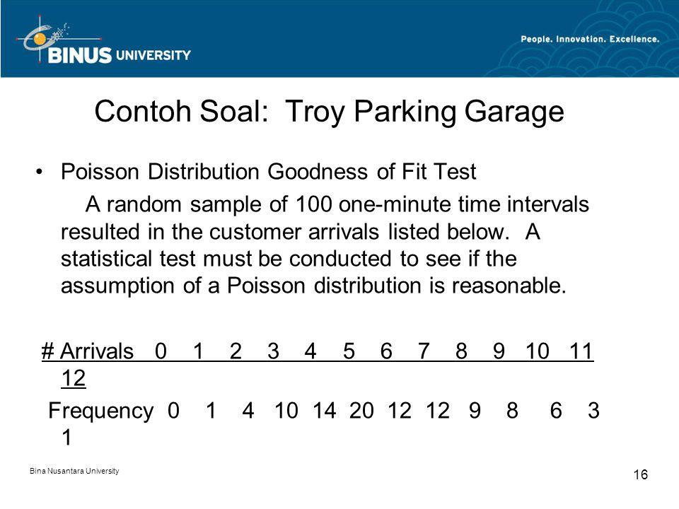 Bina Nusantara University 16 Contoh Soal: Troy Parking Garage Poisson Distribution Goodness of Fit Test A random sample of 100 one-minute time interva