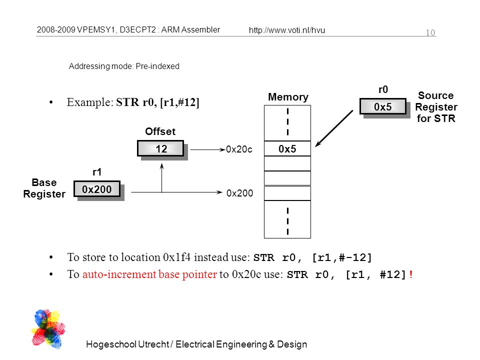 2008-2009 VPEMSY1, D3ECPT2 : ARM Assembler http://www.voti.nl/hvu Hogeschool Utrecht / Electrical Engineering & Design 10 Addressing mode: Pre-indexed Example: STR r0, [r1,#12] To store to location 0x1f4 instead use: STR r0, [r1,#-12] To auto-increment base pointer to 0x20c use: STR r0, [r1, #12].