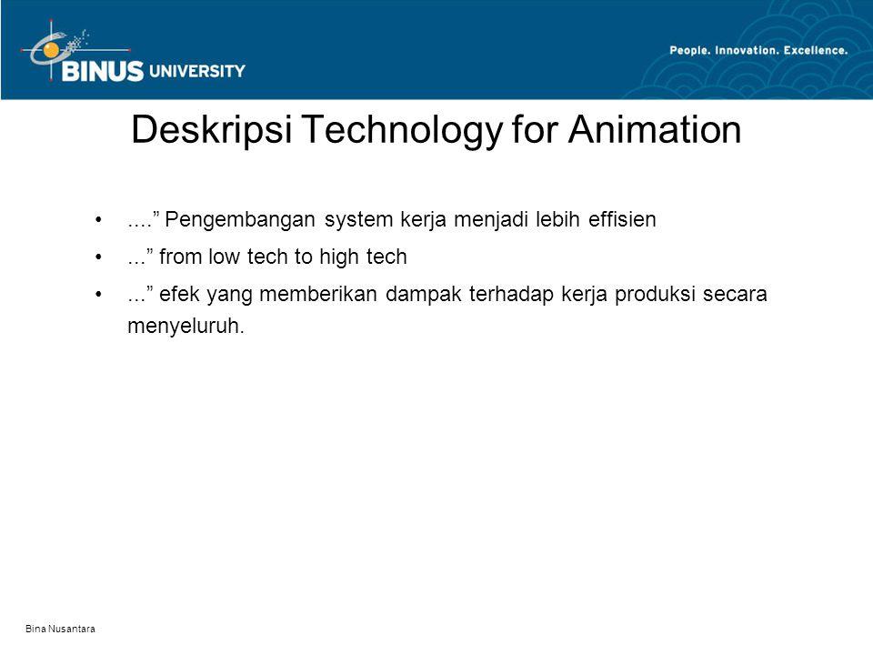 Bina Nusantara.... Pengembangan system kerja menjadi lebih effisien... from low tech to high tech... efek yang memberikan dampak terhadap kerja produksi secara menyeluruh.
