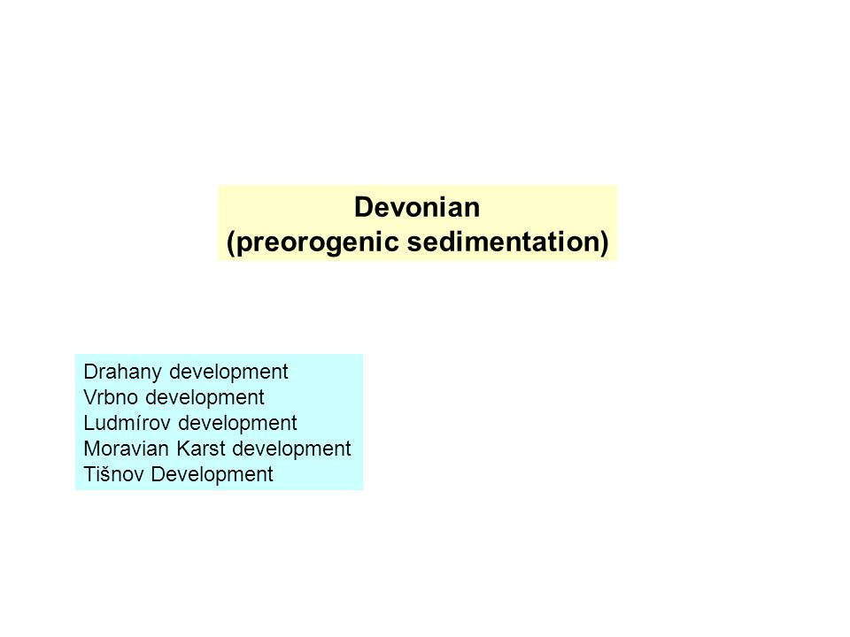 Devonian (preorogenic sedimentation) Drahany development Vrbno development Ludmírov development Moravian Karst development Tišnov Development