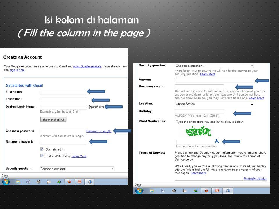 Isi kolom di halaman ( Fill the column in the page )