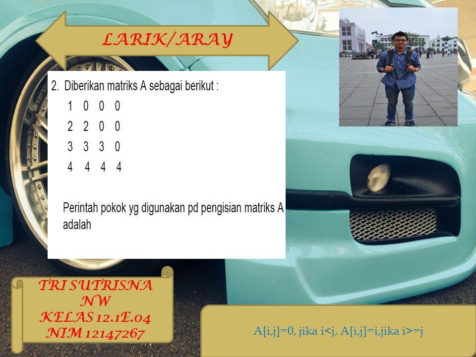A[i,j]=0, jika i =j LARIK/ARAY TRI SUTRISNA NW KELAS 12.1E.04 NIM 12147267