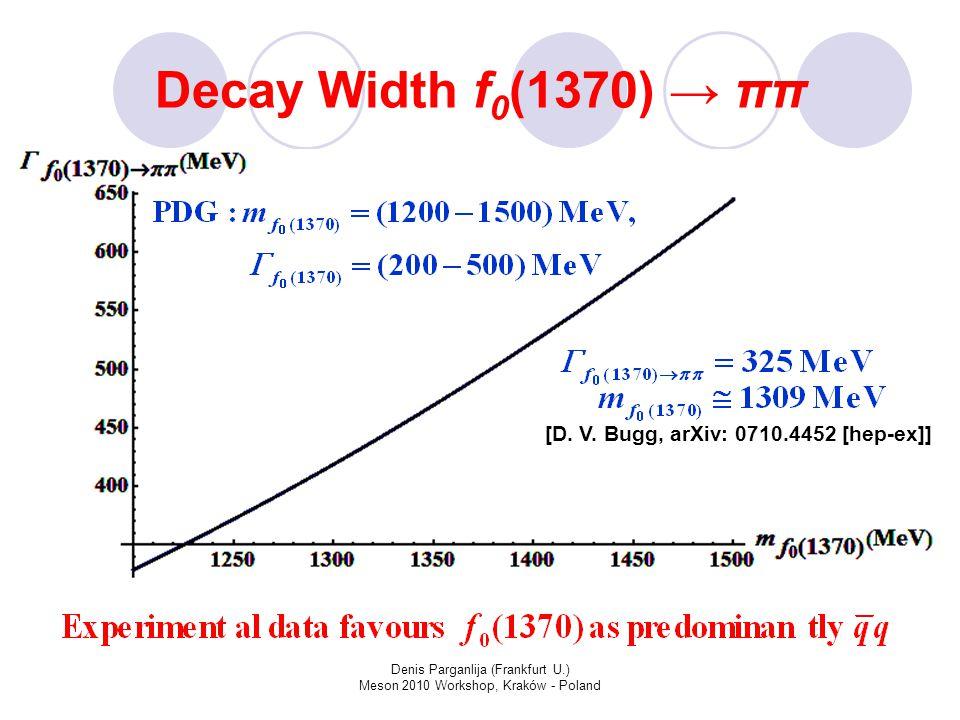 Denis Parganlija (Frankfurt U.) Meson 2010 Workshop, Kraków - Poland Decay Width f 0 (1370) → ππ [D.